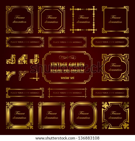 Vintage golden frames and corners - stock vector