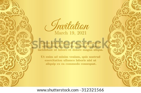 Vintage golden invitation cover lace decoration stock vector hd vintage golden invitation cover with lace decoration stopboris Choice Image