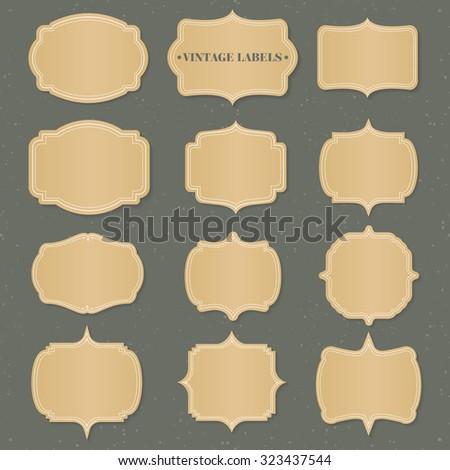 Vintage golden label vector set - stock vector