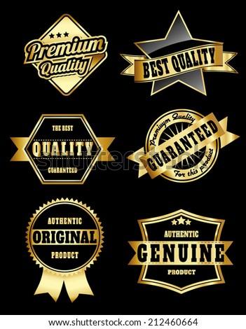 vintage golden royal quality label set  - stock vector