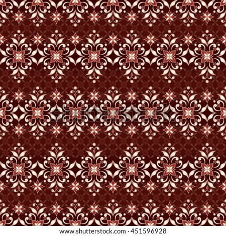 Vintage golden seamless texture in Eastern style on dark red.  Element for design. Ornamental backdrop. Pattern fill. Ornate floral decor for wallpaper. Traditional golden decor. - stock vector