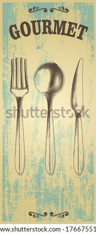 vintage gourmet background - stock vector