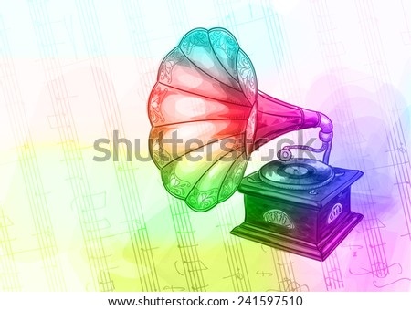 Vintage Gramophone in iridescen colours. Vector illustration. - stock vector