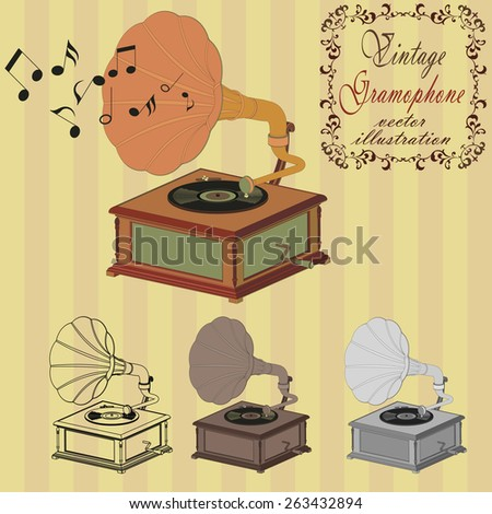 vintage gramophone on the striped background - vectors - stock vector