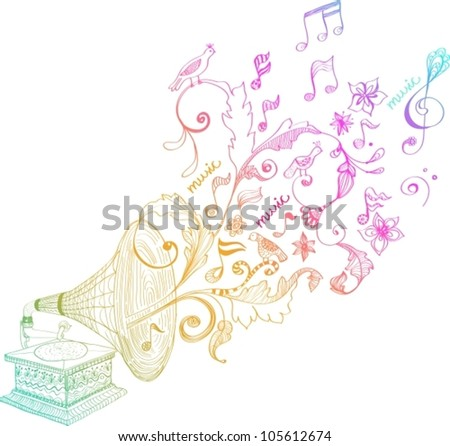Vintage Gramophone, Record player background with floral ornament, beautiful vector illustration - stock vector