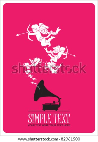 Vintage gramophone with cupids. Abstract vector illustration. Place for your text. - stock vector