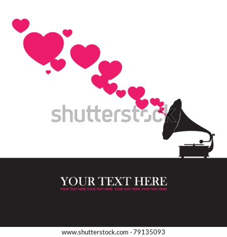 Vintage gramophone with hearts. Abstract vector illustration. Place for your text. - stock vector