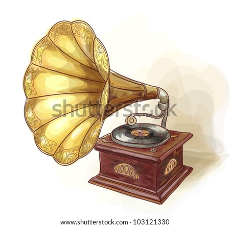 Vintage Gramophone. Wtercolor imitation. Vector illustration. - stock vector