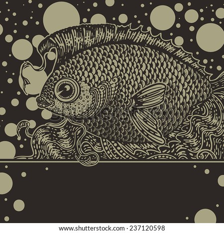 Vintage graphic fish in two colors - stock vector