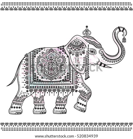Vintage Graphic Vector Indian Lotus Ethnic Stock Vector ...