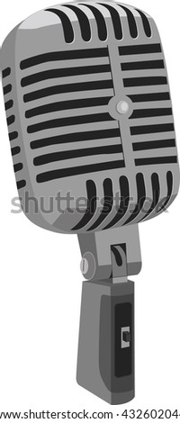 Vintage gray microphone, isolated on white background