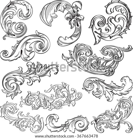 Vintage great acantuse set is isolated on white - stock vector