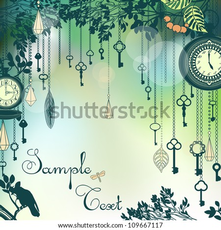 Vintage green background with with keys and clocks
