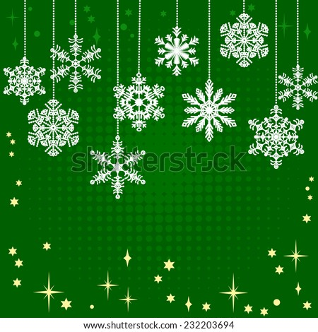 Vintage green card with Christmas snowflakes and other decorations - stock vector
