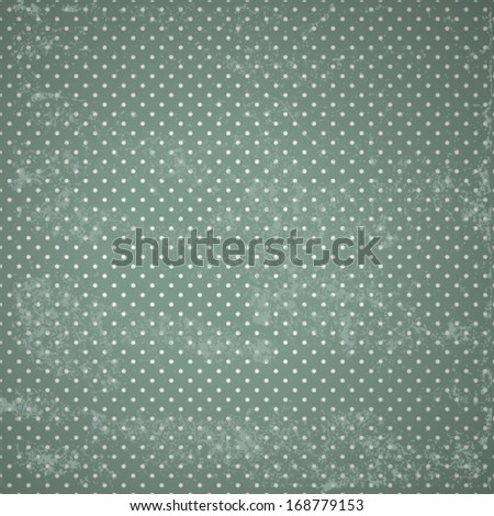 vintage green grunge background with polka dot pattern and dirty spots. Vector, EPS 10