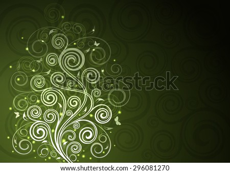 Vintage green vector floral illustration. - stock vector