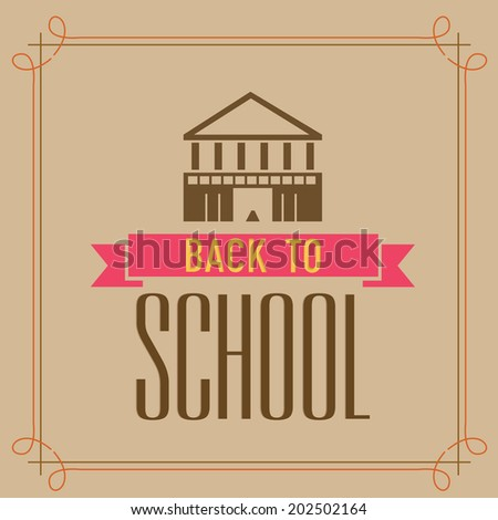 Vintage greeting card for back to School.  - stock vector