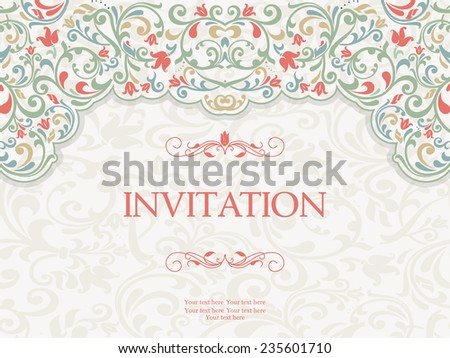 vintage greeting card, invitation with floral ornaments, beautiful, luxury postcards - stock vector