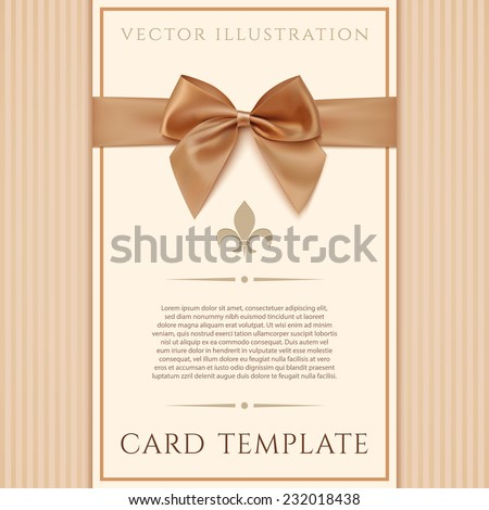 Vintage greeting card template with golden bow and a ribbon. Invitation. Vector illustration - stock vector