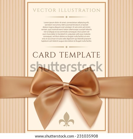 Vintage greeting card template with golden bow and ribbon. Invitation. Vector illustration - stock vector
