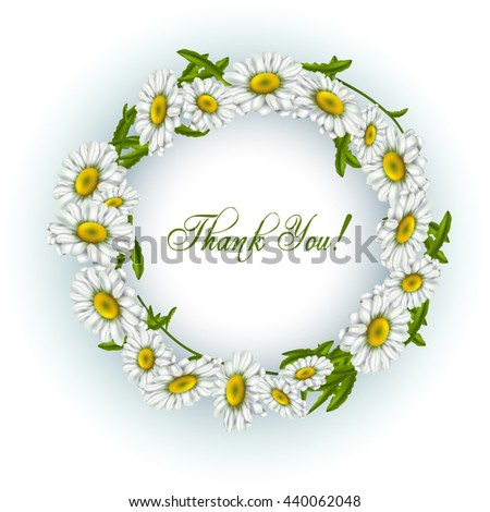 Vintage greeting card with blooming flowers, 'Thank You' wording and place for your text. Vector illustration - stock vector