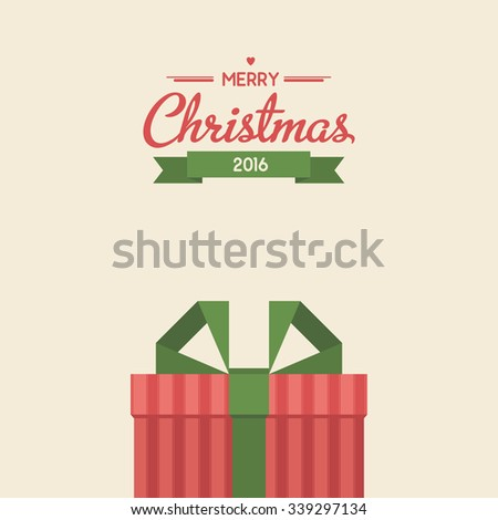 Vintage greeting card with christmas gifts. Flat style illustration - stock vector