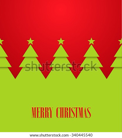 Vintage greeting card with Christmas trees. Vector illustration. - stock vector