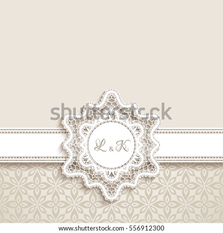 Vintage greeting card with cutout paper lace label, wedding invitation or announcement template, eps10 vector illustration