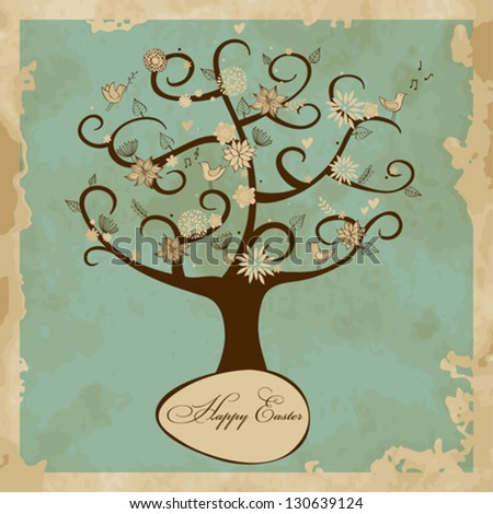 Vintage greeting card with Easter tree - stock vector