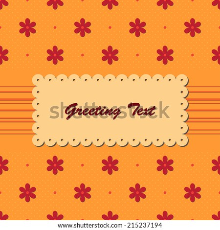 Vintage greeting card with red flowers on orange seamless background - stock vector