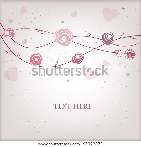 Vintage greeting card with roses and hearts - stock vector