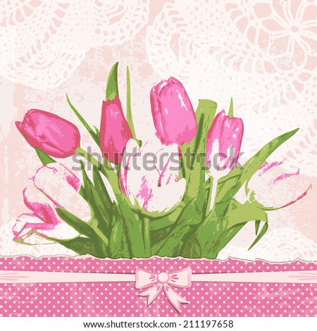 vintage greeting card with tulips. Adorable bouquet flowers. Retro background with lace doily. Vector illustration. - stock vector