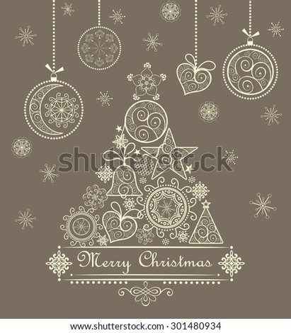 Vintage greeting card with xmas tree and hanging baubles - stock vector
