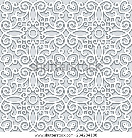 Vintage grey ornament, vector seamless pattern in neutral color - stock vector