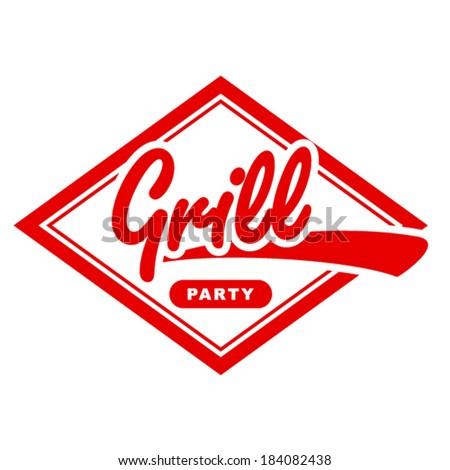 Vintage grill label design. - stock vector