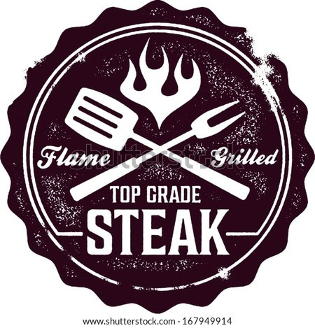 Vintage Grilled Steak Menu Stamp - stock vector