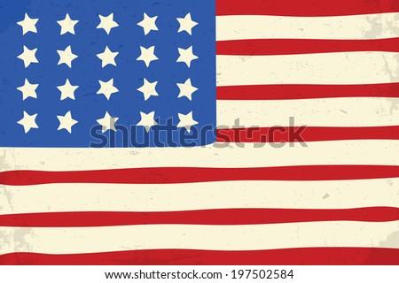 Vintage grunge american flag illustration - stock vector