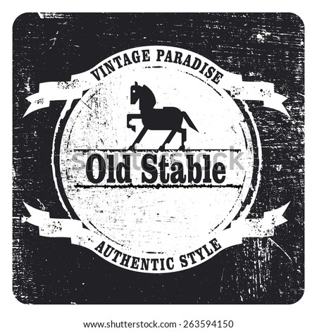 Vintage grunge and stencil inky black shield with horse and copy space - stock vector