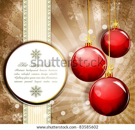 Vintage grunge background with snowflakes and red  New Year balls - stock vector