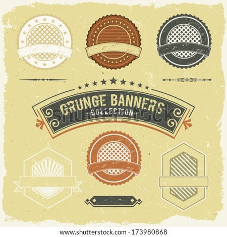 Vintage Grunge Banner And Labels Collection/ Illustration of a set of design grunge vintage banners, labels, seal stamper and ornaments patterns - stock vector