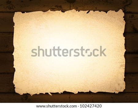 vintage grunge burnt paper at dark wooden background - stock vector