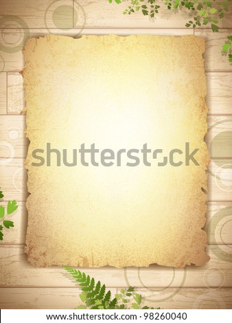 vintage grunge burnt paper at wooden background with floral decoration - stock vector
