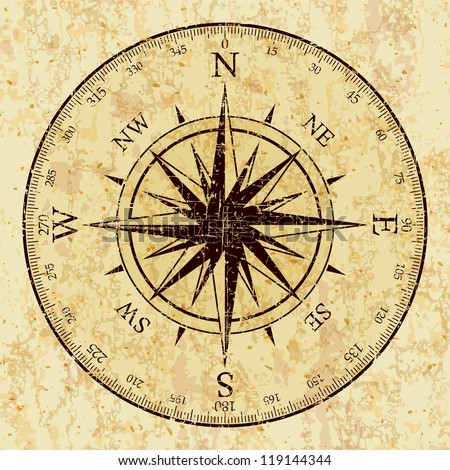 Vintage Grunge Compass - stock vector