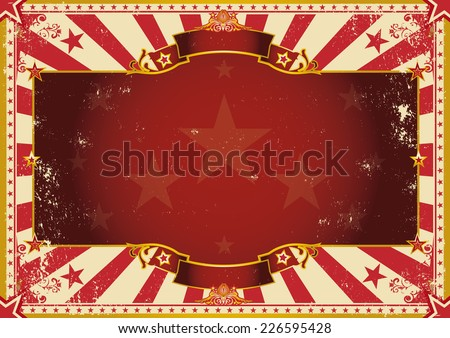 Vintage grunge horizontal background. A vintage poster with red sunbeams for your advertising. Perfect size for a screen. - stock vector