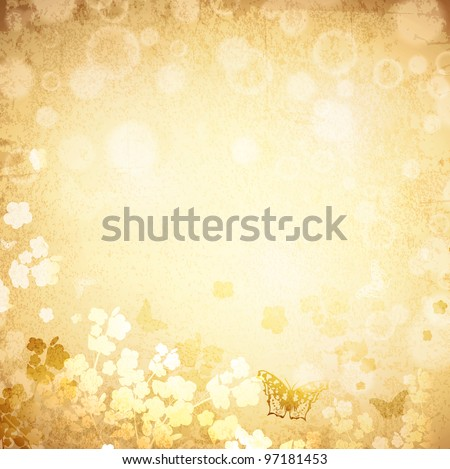 Vintage grunge spring background with butterflies and flowers silhouette - stock vector