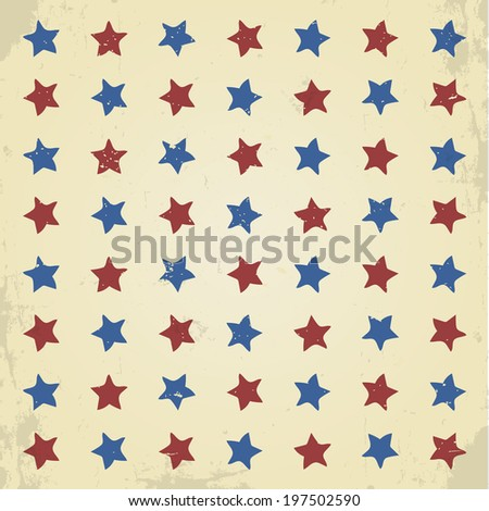 Vintage grunge stars pattern background - stock vector