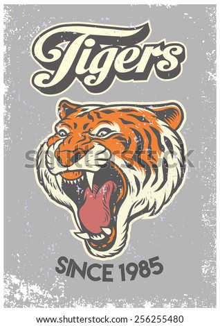 vintage grunge style of college poster of tiger head - stock vector