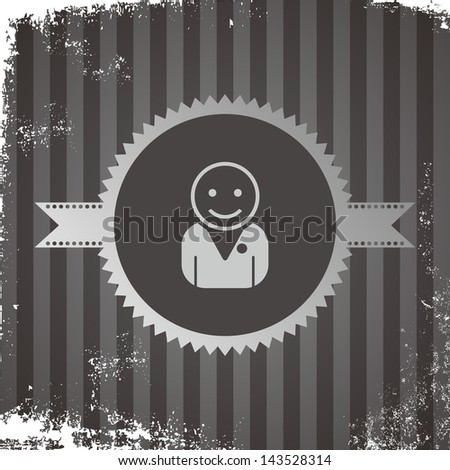 vintage grungy avatar portrait icon of a student - stock vector