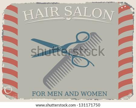 Vintage hair salon signpost - stock vector