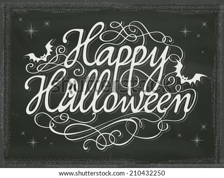 Vintage Halloween background chalkboard - stock vector